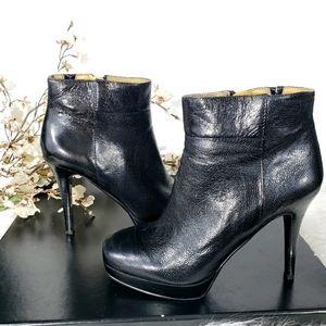 NINE WEST Esmiraldar black leather ankle boots
